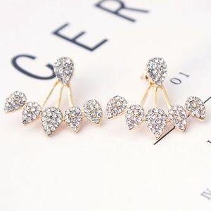 ear climbers flower teardrop Studs earrings